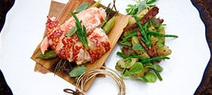 BBQ Lobster with Sea Vegetable and Potato Salad recipe